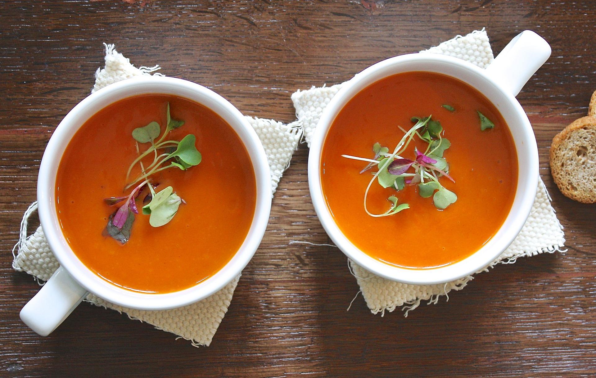 image of tomato soup on white mug