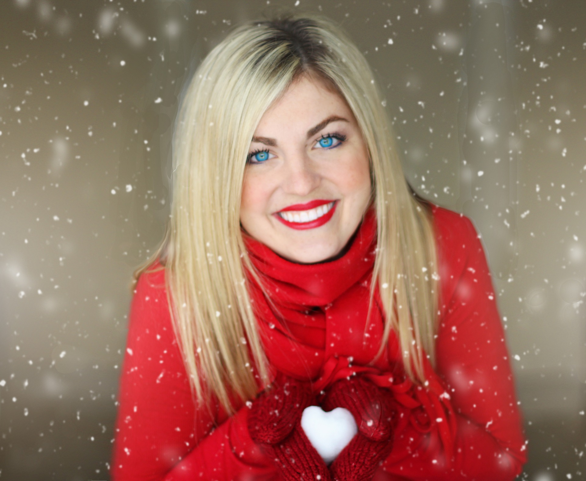 christmas girl in red with blue eyes