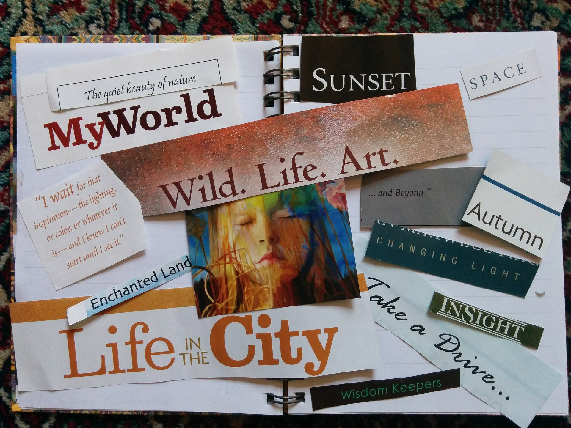 image of vision board with motivational words