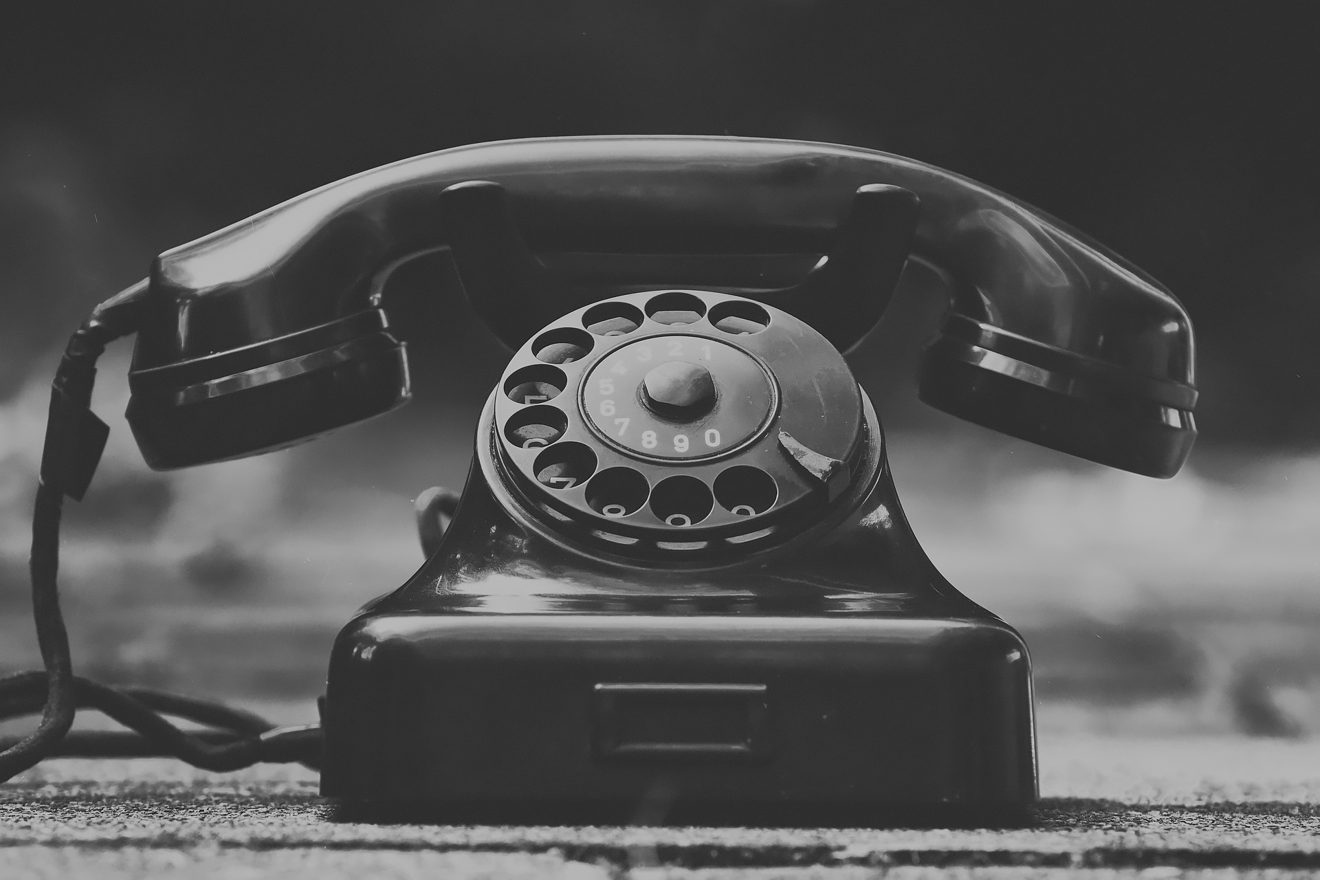 image of black and white telephone