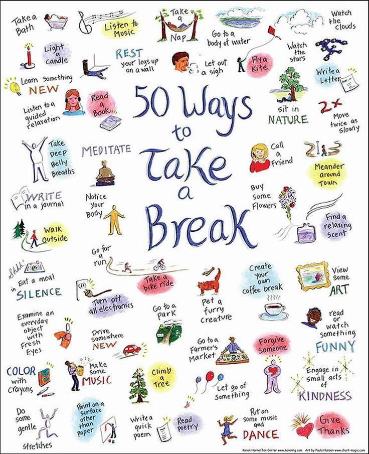50 ways to take a break infographic