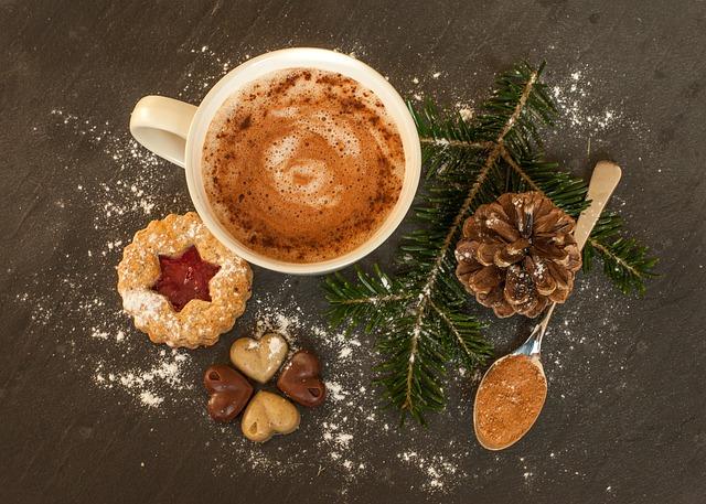 hot chocolate in festive setting