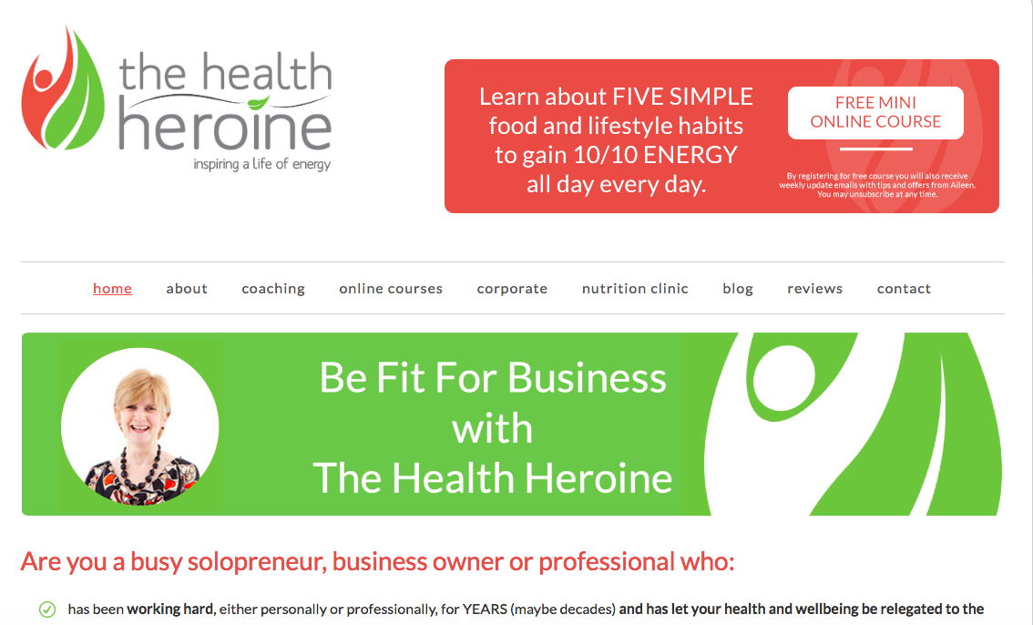 Health Heroine Website Snapshot